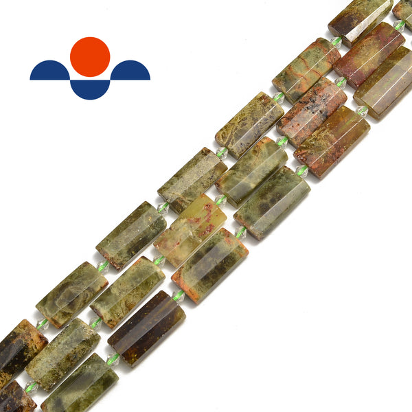 green garnet faceted flat rectangle cylinder tube beads