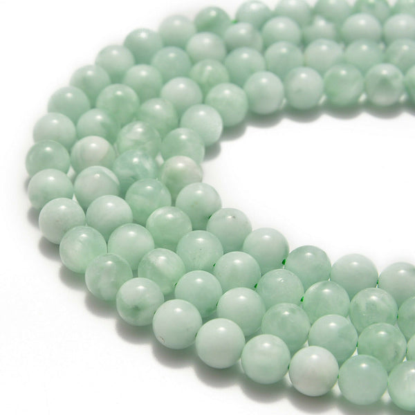 green moonstone smooth round beads