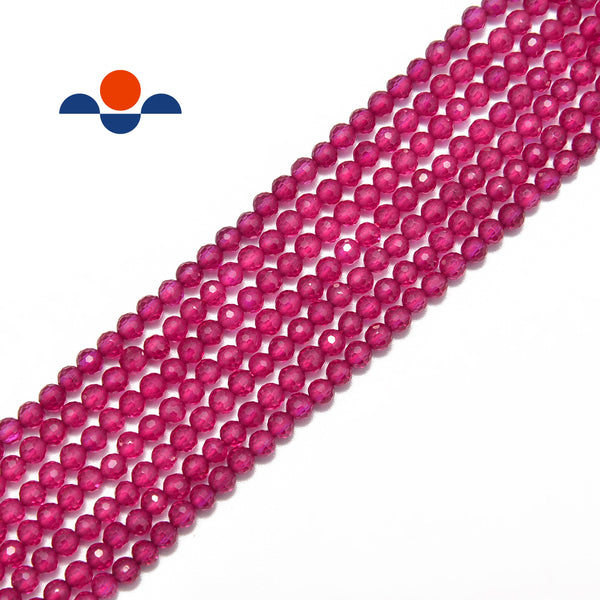 natural ruby faceted round beads