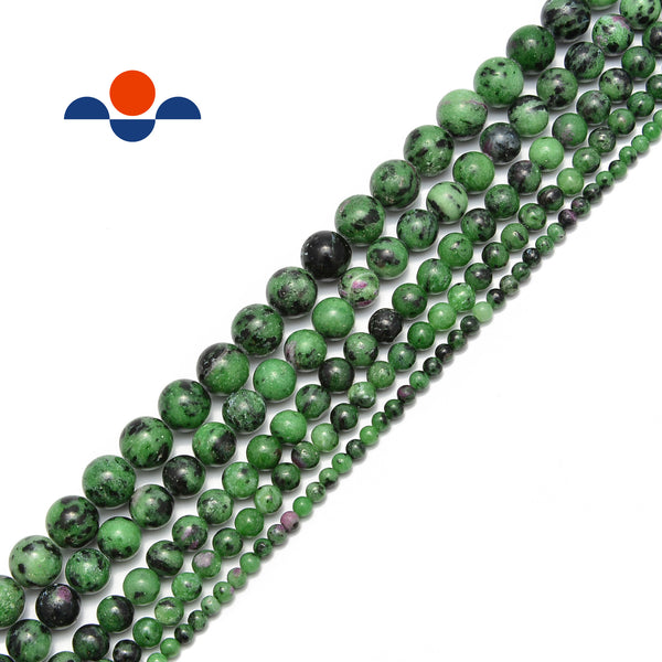"Ruby Zoisite Smooth Round Beads Size 4mm 6mm 8mm 10mm 12mm 15.5"" Strand"