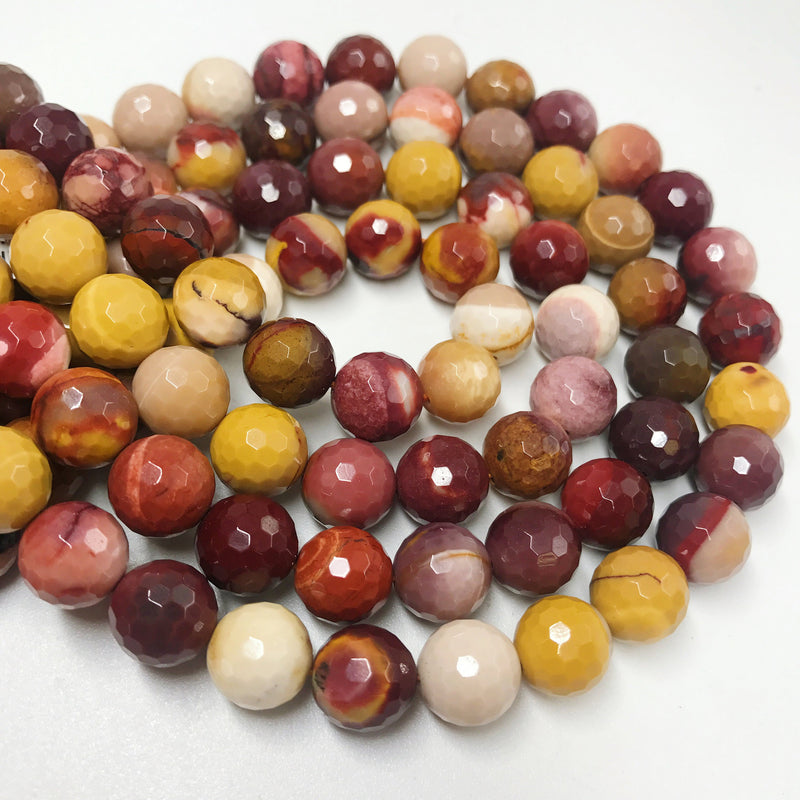 mookaite jasper faceted round beads