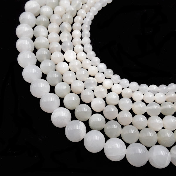 cream white moonstone smooth round beads