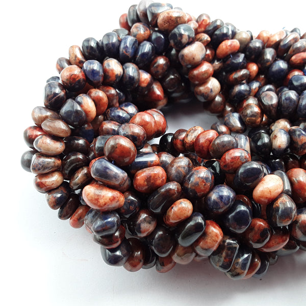 orange sodalite center drill pebble nugget beads