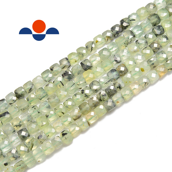 natural prehnite faceted square cube dice beads