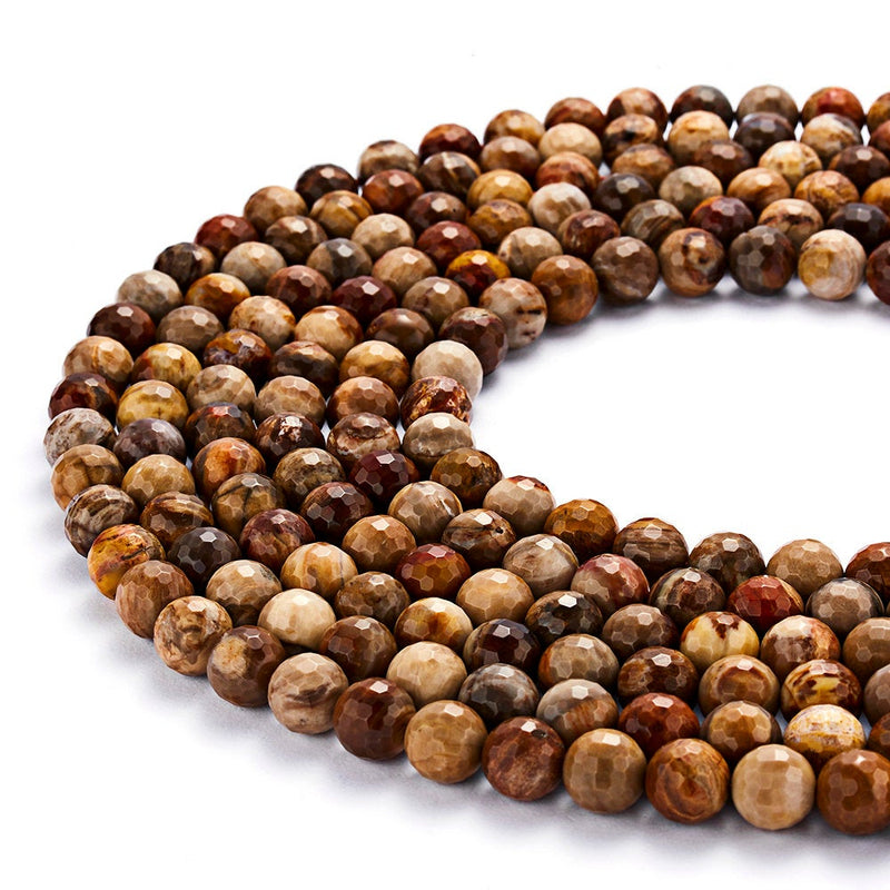 natural petrified wood faceted round beads