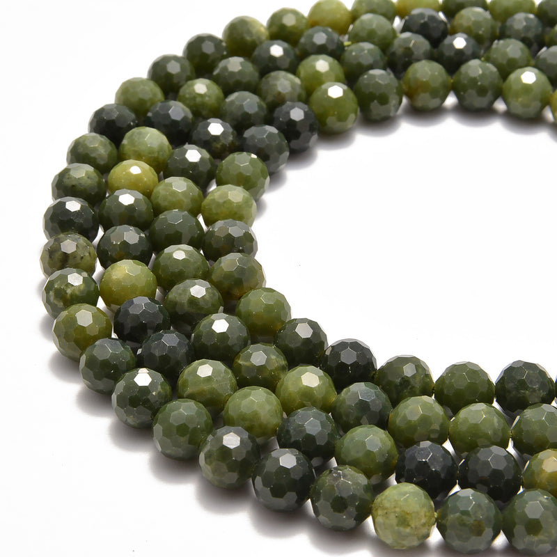 natural chinese green jade faceted round beads