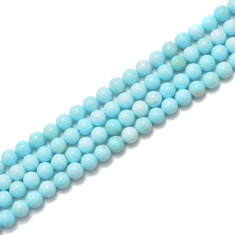 "Light Blue Turquoise Smooth Round Beads 4mm 6mm 8mm 10mm 15.5"" Strand"