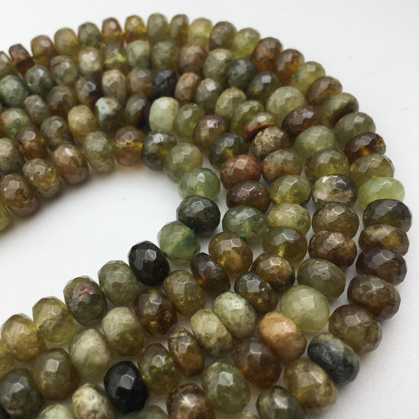 "Natural Green Garnet Faceted Rondelle Beads Approx 5x8mm 6x10mm 15.5"" Strand"