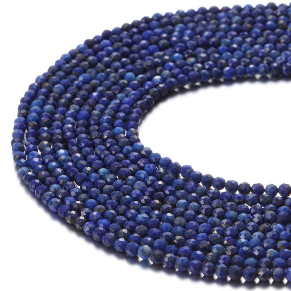 lapis lazuli faceted round beads