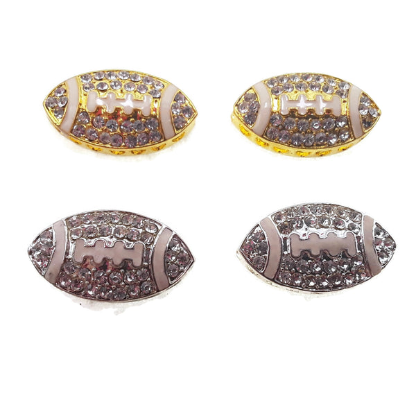 football charm gold silver plated copper with micro pave rhinestone