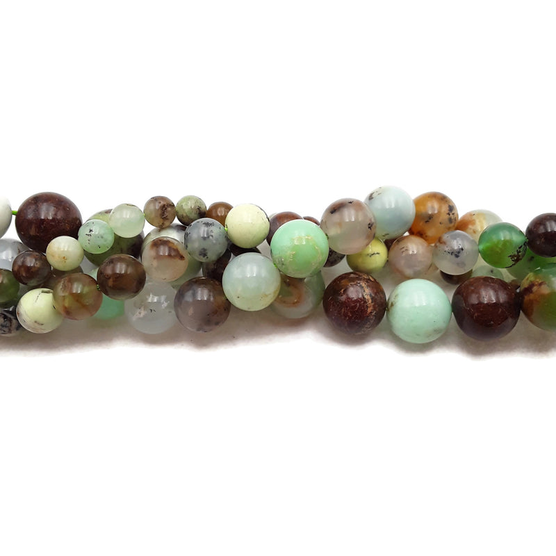 "Green Brown Chrysoprase Smooth Round Beads 6mm 8mm 10mm 12mm 15.5"" Strand"