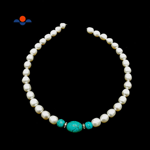 "Fresh Water Pearl Oval Rice & Blue Howlite Turquoise Beads 10-12mm 15.5"" Strand"