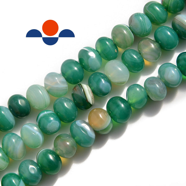 green Striped agate irregular pebble nugget beads