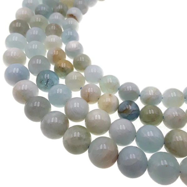 multi blue aquamarine smooth round beads