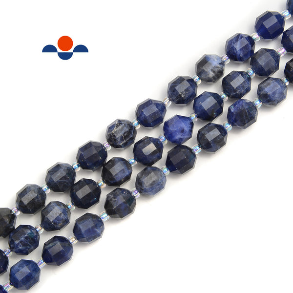 "Sodalite Hard Cut Faceted Off Round Beads Size 9x10mm 15.5"" Strand"
