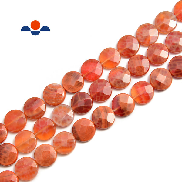 "Burnt Orange Fire Agate Faceted Flat Round Coin Beads 10mm 12mm 15.5"" Strand"