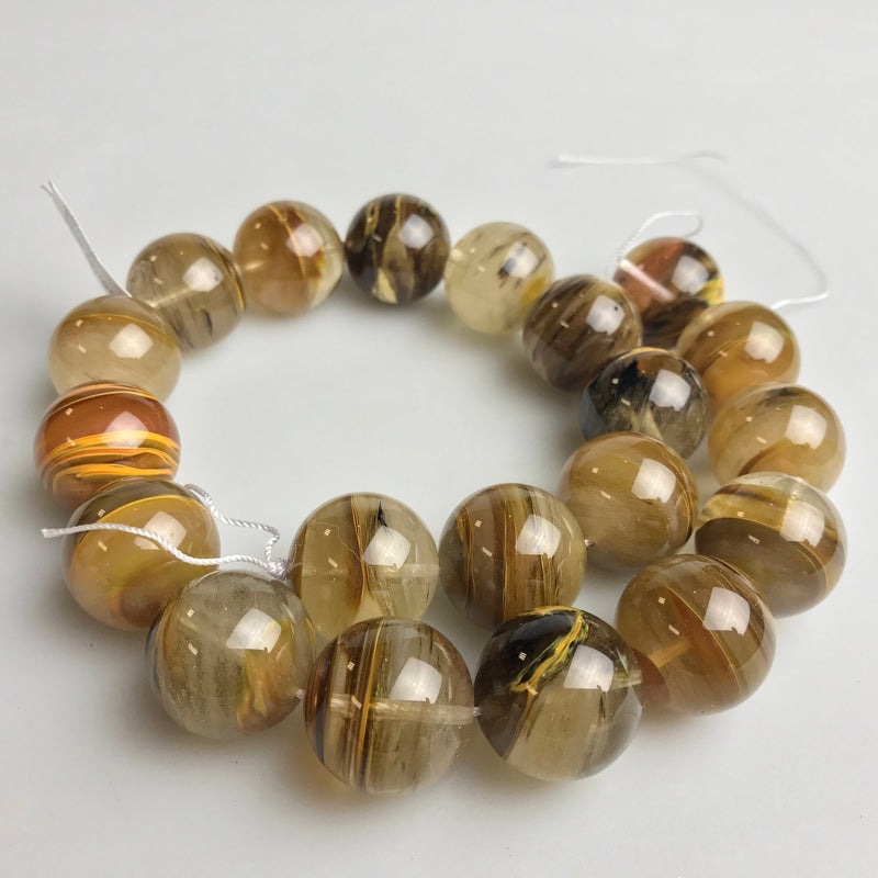 fire quartz smooth round beads