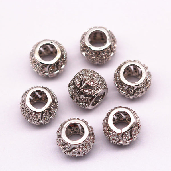 silver plated micro pave zircon cylinder charm