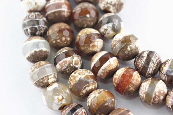 brown white Striped tibetan agate faceted round beads