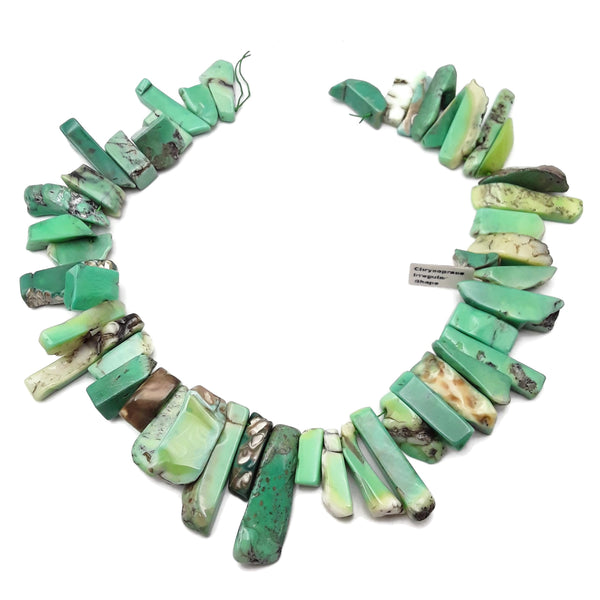 "Chrysoprase Graduated Irregular Slice Sticks Points Beads 20-40mm 15.5"" Strand"