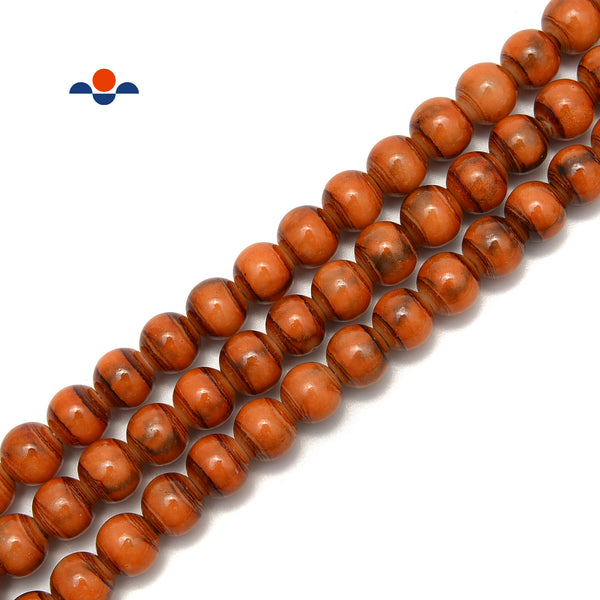 "Orange Striped Glass Beads Smooth Round Beads Size 6mm 8mm 10mm 15.5"" Strand"
