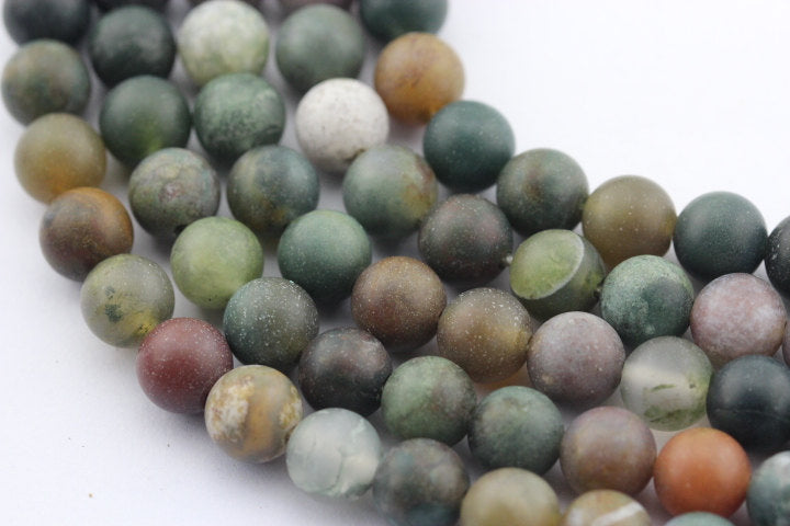 "2.0mm Hole Indian Agate Matte Round Beads 8mm 10mm 15.5"" Strand"