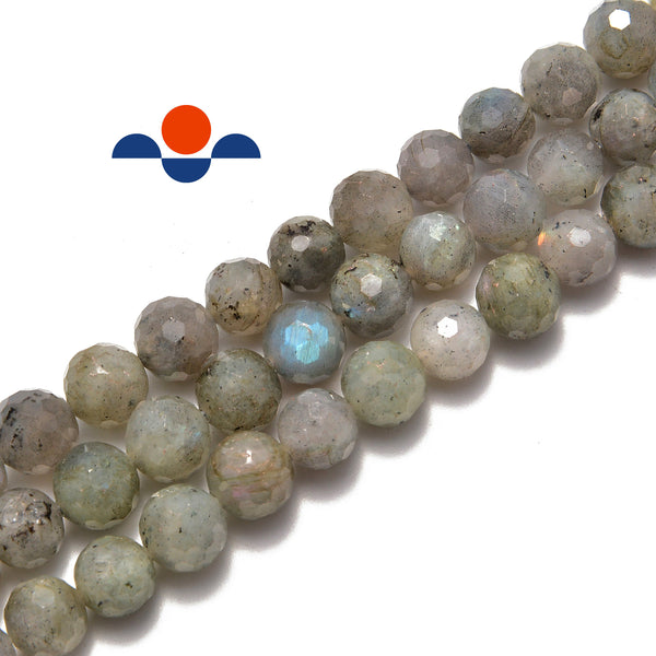 "Gray Labradorite Hard Cut Faceted Round Beads 6mm 8mm 10mm 12mm 15.5"" Strand"
