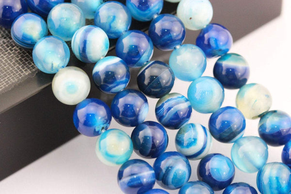 large hole blue Striped agate smooth round beads