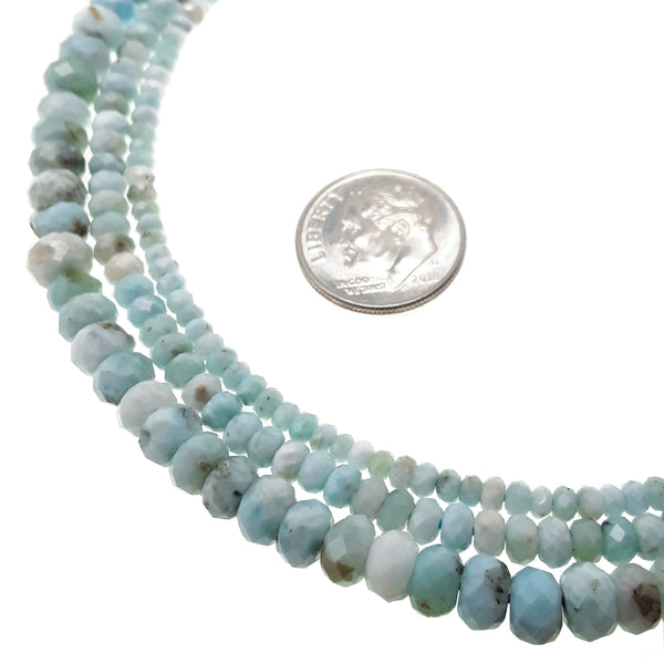 natural blue larimar faceted rondelle beads