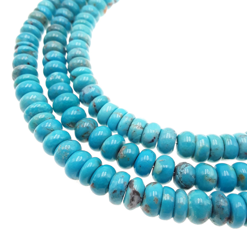 genuine natural blue green turquoise smooth rondelle beads