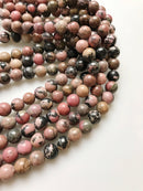 "2.0mm Hole Rhodonite Smooth Round Beads 6mm 8mm 10mm 15.5"" Strand"