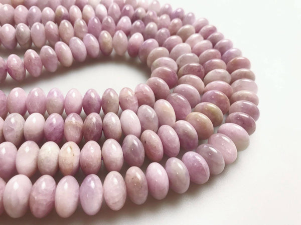 natural kunzite smooth rondelle beads