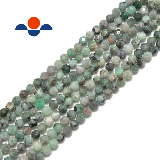 "Natural Emerald Faceted Round Beads Size 2mm 3mm 4mm 6mm 15.5"" strand"