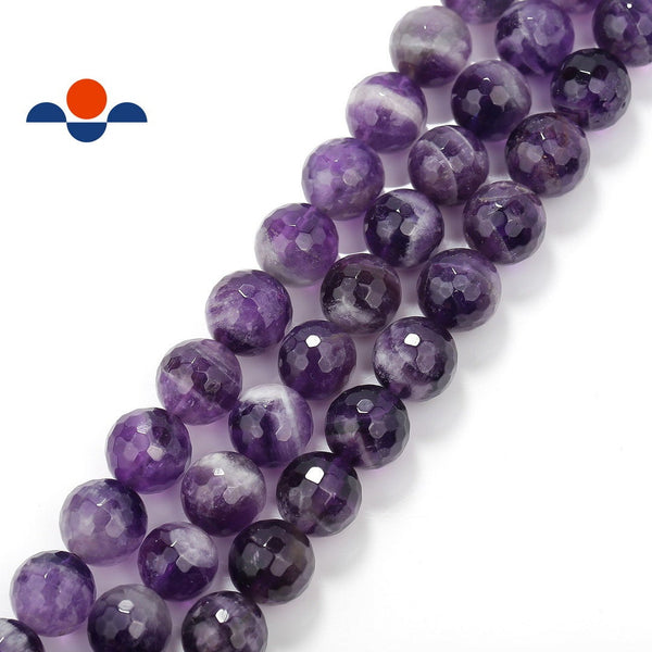 teeth amethyst faceted round beads