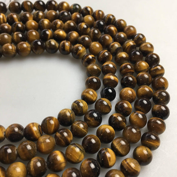 large hole yellow Tiger's eye smooth round beads