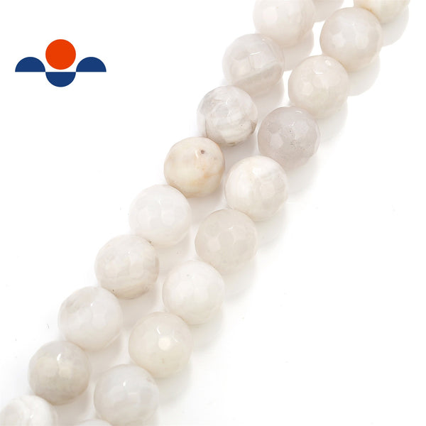 white agate faceted round beads