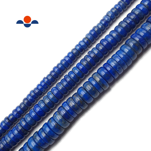 "Lapis Lazuli Smooth Rondelle Beads 3x6mm 4x8mm 4x10mm 15.5"" Strand"