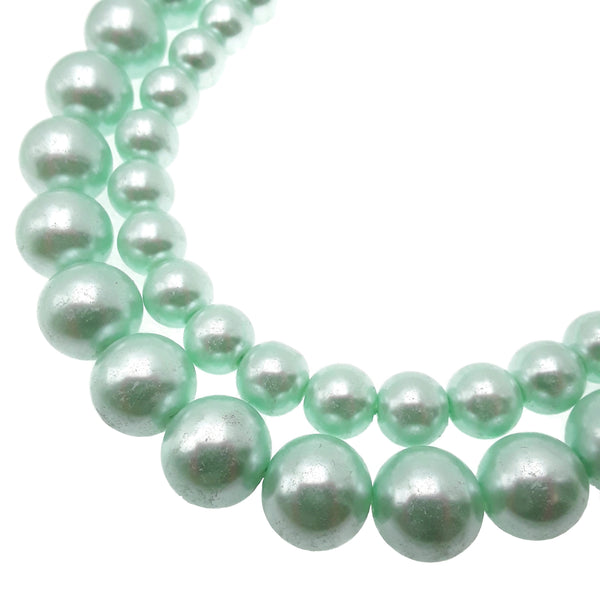 teal green glass pearl smooth round beads