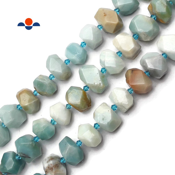 "Natural Multi Color Amazonite Faceted Nugget Chunk Beads 13x20mm 15.5"" Strand"