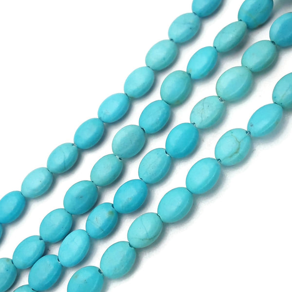 "Blue Howlite Turquoise Oval Shape Beads Size 6x8mm 15.5"" Strand"