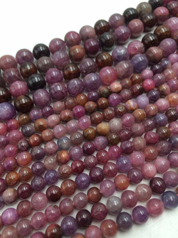 natural ruby smooth round beads