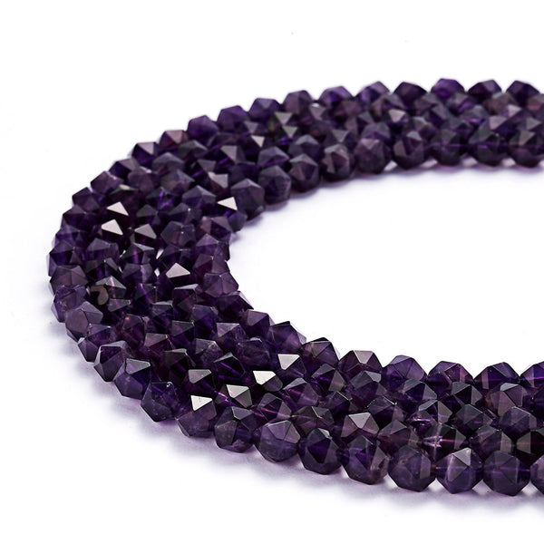 natural amethyst faceted star cut beads