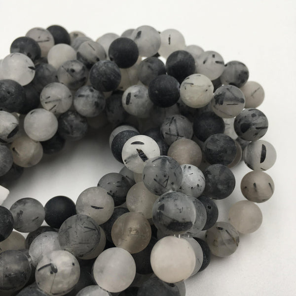 large hole black tourmalinated quartz matte round beads