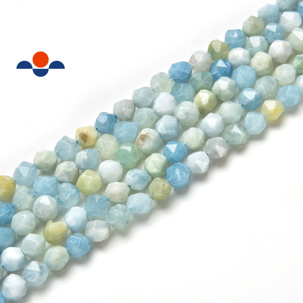 natural aquamarine faceted star cut beads