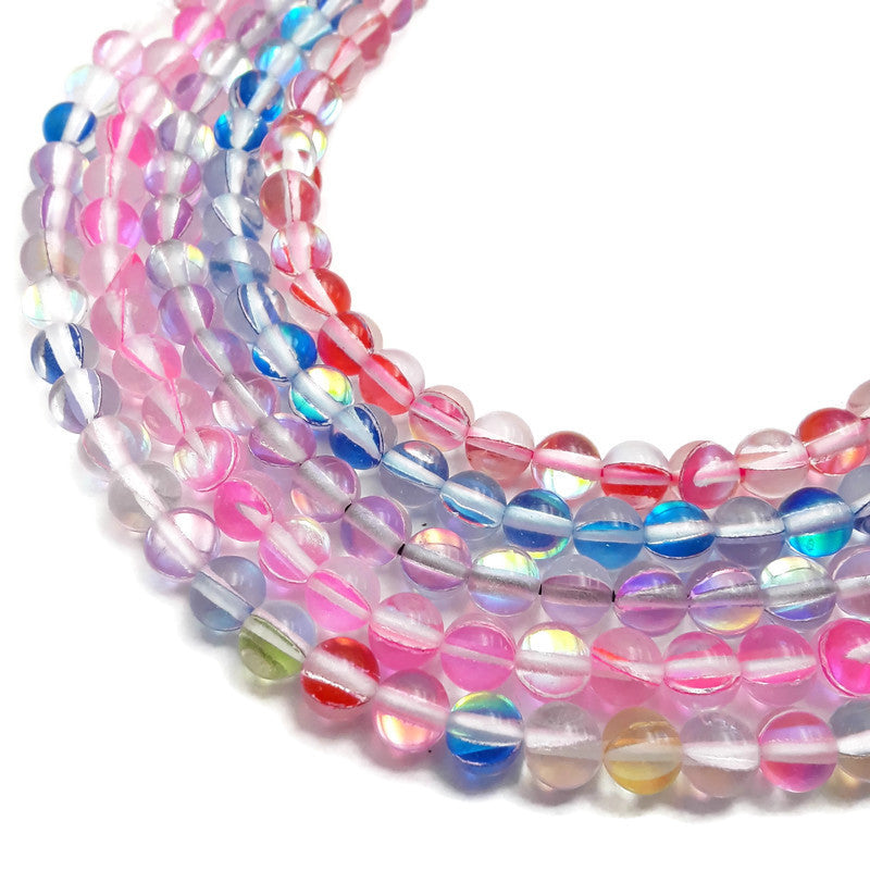 mystic aura mermaid blue purple red pink rainbow smooth round beads