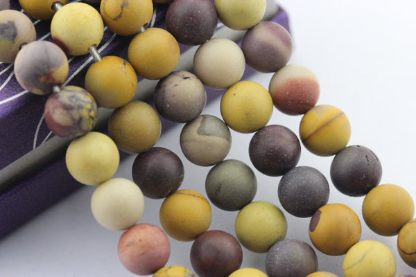 "2.0mm Hole Mookaite Matte Round Beads 6mm 8mm 10mm 15.5"" Strand"