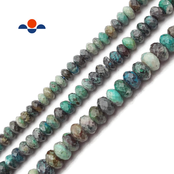 Fynchenite Chrysocolla Faceted Rondelle Beads 4x6mm 4x7mm 5x9mm 15.5'' Strand