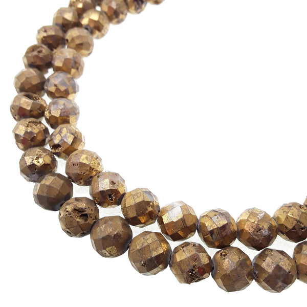 gold druzy agate faceted round beads