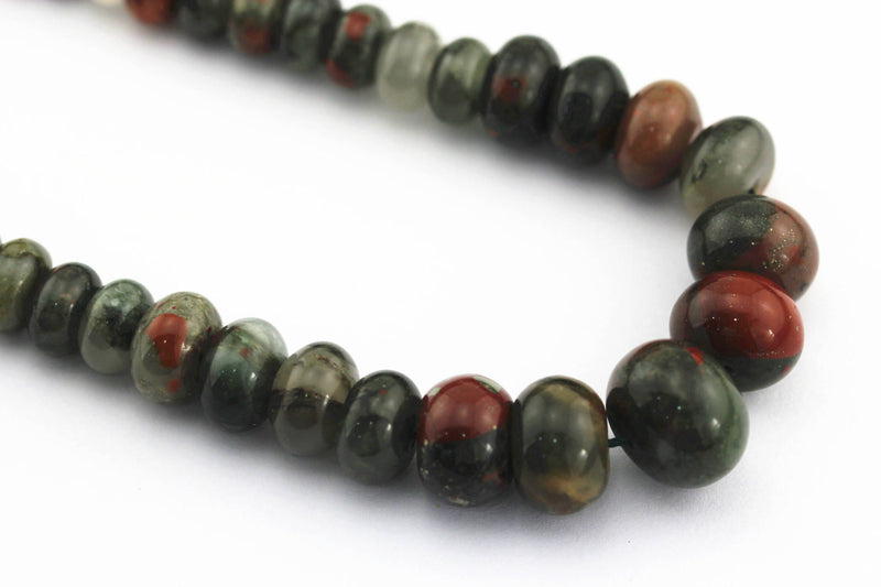 african bloodstone graduated smooth rondelle beads
