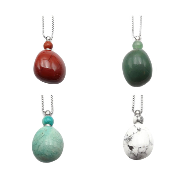 Natural Stone Essential Oil Necklace Off-Round Perfume Bottle & Silver Chain
